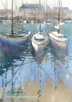 (Photo) Honfleur, France I, watercolor by Keiko Tanabe