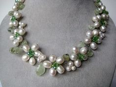 Handmade Pearl and Swarovski Crystal Necklace #593 | AnnasJewelryDesigns - Jewelry on ArtFire......$150