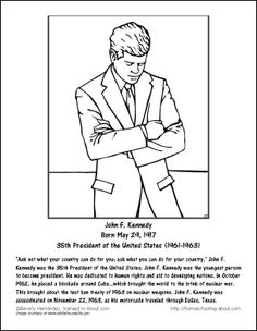 learn about the 35th president with these printables john kennedyjfk grandkidsworksheetscoloring pagespresidentsfish