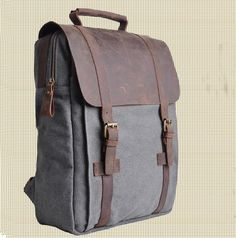 Genuine Cow leather bag canvas bag BACKPACK Leather Briefcase / leather Messenger bag / 14' 15' MacBook Laptop bag (1820-3)