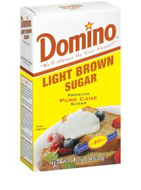 Light Brown Sugar    Ask for Domino® Light Brown Sugar, which is always 100% pure cane sugar and is always naturally brown all the way through. Don't settle for less!    Domino® Light Brown Sugar has a nutty, caramel flavor, natural moistness, and subtle molasses flavor. It's ideal for cookies, shortbread, spiced cakes, brownies, and crumble toppings. Generally, if a recipe doesn't specify Dark or Brown, it is intended that Light Brown be used.  Light Brown Sugar    Available Sizes:  1-lb. b...
