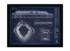 Celebrate the Yankee Stadium and give this unique gift, a Ballpark Blueprint of the New York Yankee's home. Perfect gift for dad, your husband, or yourself.
