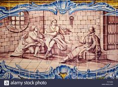 Portugal, Lisbon, mosteiro dos Jeronimos, Jeronimos monastery, UNESCO world heritage, tiles, azulejos in the Ancient Refectory ( Stock Photo