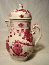 18th c Worcester Porcelain Ribbed Carmine Milk Jug & Cover 6 1/4  h 1755-70