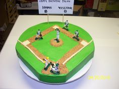 """- birthday cake for little boy turing 8 and loves baseball.  buttercream with modeling chocolate lines and bases.  """"dirt"""" is toasted cake crumbs."""