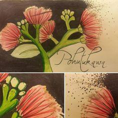 My favorite native NZ tree! Põhutukawa! #newzealand #pohutukawa #watercolor #illustration #tribute #pinkflowers #pendrawing #sketchbook #britishartist