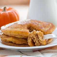 Pumpkin Patch Pancakes with Apple Cider Syrup #pumpkin