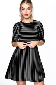 Plus Katie Striped Skater Dress