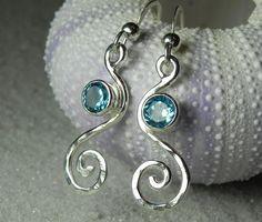 Blue Topaz Earrings - Swirl Spiral Earrings - Ocean BlueTopaz Wave Jewelry - Unique Handcrafted Sterling Silver  Aqua Blue Jewelry. $65.00, via Etsy.