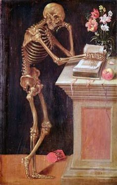 VANITAS (1543) by HANS HOLBEIN the Younger (Artist. German Northern Renaissance Painter, 1497-1543) ... ... Skeleton reading book... Prints/Posters available at allposters.com ... ...   Never stop reading :-)