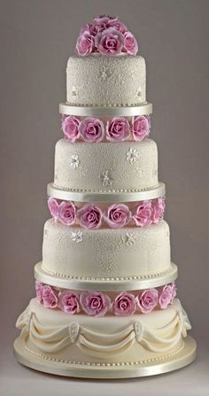 Romantic Rose and Lace Wedding Cake by Sandra Monger Wedding & Celebration Cakes Elegant Wedding Cakes, Elegant Cakes, Beautiful Wedding Cakes, Gorgeous Cakes, Wedding Cake Designs, Pretty Cakes, Amazing Cakes, Wedding Cupcakes, Wedding Cake Inspiration