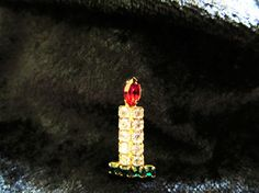 Vintage Rhinestone Christmas Candle Brooch by ChristmasPastPresent, $14.00