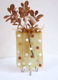 Woodsy Fused Glass Pocket Vase by JanuaryMayDesigns on Etsy, $23.00
