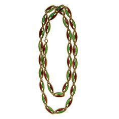 Red and Green Enamel Estate Jewelry Necklace.