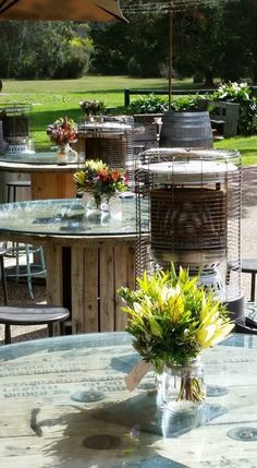 One of Baxter Barn's outdoor bar setup for guests, with portable outdoor heaters
