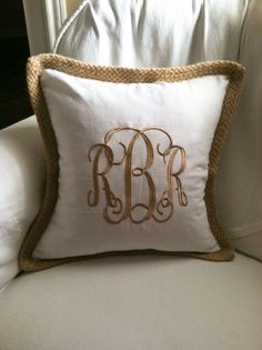 Monogram Pillow Cover with Jute Trim by EmmabellasDesigns on Etsy, $36.95