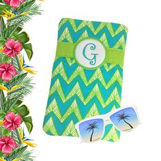 Tropical Monogram Soft Eyeglass Case Blue Green Readers Case