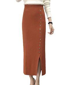 Moollyfox Bodycon Midi Dividir Falda Tejer de Lápiz para Mujeres de Alto  Estiramiento Cinturón Caqui 1b33d59e73a9