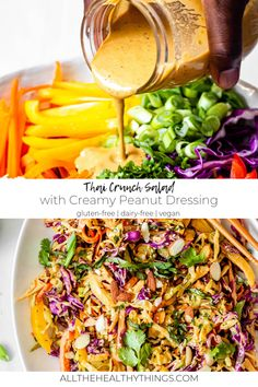 This Thai Crunch Salad is full of fresh herbs, shredded cabbage, crunchy bell peppers, and all come together with a creamy peanut dressing. Thai Salads, Healthy Salads, Thai Crunch Salad, Thai Peanut Salad, Classic Potato Salad, Vegetarian Recipes, Healthy Recipes, Lunch Recipes, Dinner Recipes