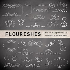 ❤ Hand Drawn chalkboard flourishes clipart, Digital clipart frames, ornaments and elements digital, Hand Drawn Vintage Style, instant download ❤