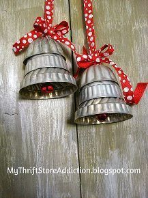 repurposed silver bells, made from tin molds Easy Christmas Ornaments, Christmas Love, Country Christmas, Vintage Christmas, Christmas Holidays, Christmas Decorations, Christmas Bells, Crochet Christmas, Christmas Angels