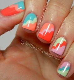 "Let them have Polish!: ""Polish brand is Barielle. The base colors from thumb to pinkie are: Berry Go Round, Ocean Breeze, Peach popsicle, Mint Ice Cream Cone and Pink Flip Flop."""