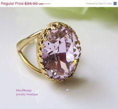 Swarovski Pink Vintage Victorian  Gold Setting Cocktail Ring, Rosaline Swarovski Ring ,Jewelry- Free