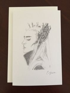 Set of 5 Cards Thranduil Pencil Drawing Art Cards by CatDKnits