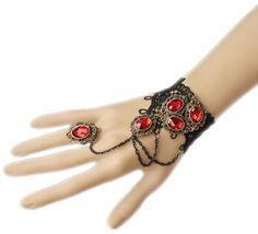Vintage Red Rhinestone Pendant Pendant Lace Bracelet Ring Jewelry Set