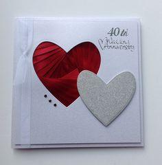 Iris folded heart in ribbon