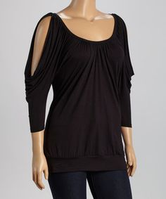 Loving this Black Cutout Dolman Top - Plus on #zulily! #zulilyfinds