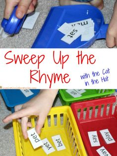 Sweep Up the Rhyme - a fun Cat in the Hat inspired rhyming game