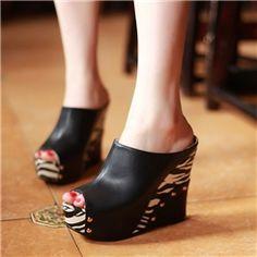 Impressive Black Peep Toe Sandals