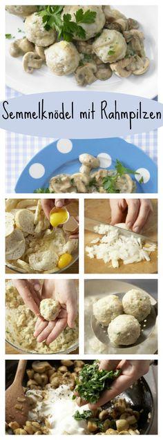 Milch in einem Topf leicht erwärmen. Etwas Muskat zur Milch in den Topf reiben, salzen und mit den Eiern über die Brötchen gießen: Semmelknödel mit Rahmpilzen – smarter Familienessen (2 Erw. und 2 Kinder) | http://eatsmarter.de/rezepte/semmelknoedel-rahmpilzen-smarter