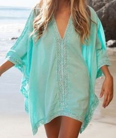 Stylish Aqua Plunging Neck Spliced 3/4 Sleeve Cover-Up For Women #Aqua #Beach #CoverUp #Fashion