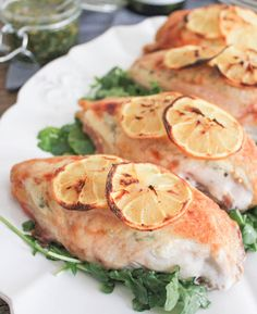 Goat Cheese Stuffed Chicken Breasts with Rustic Basil Pesto