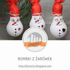 DIY - zrób to sam : # 8 METAMORFOZA: Bombki z żarówek Decoupage, Diy, Christmas Ornaments, Holiday Decor, Crafts, Home Decor, Manualidades, Decoration Home, Bricolage