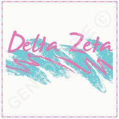Geneologie creates custom apparel and accessories. Delta Zeta Shirts, Sorority Rush Shirts, Sorority Banner, Sorority Shirt Designs, Sorority Names, Fraternity Shirts, Sorority Canvas, Sorority Crafts, Sorority Outfits