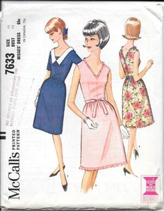 645b2c4fc9c McCALL S 7633 UNCUT Size 14 Bust 34 Vintage 1960 s V-Neck Fit and Flare  Chelsea Collar Sleeveless Short Sleeves Belt Sash Tie Dress Pattern