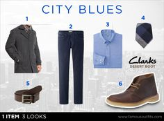 Clarks Desert Boot - City Blues Need just the right look when pairing denim with a tie? The Clarks Desert Boot comes through for dress causal. Grab a gray wool overcoat for those cooler days and you'll match up perfectly with a blue denim and oxford button down.