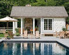 Nothing says summer like kids splashing around in a pool–except perhaps an adult party centered around a pool on a balmy summer evening. In either case, a pool house makes everything easier.Whether the pool house is small and simple or includes a Small Modern House Plans, Pool Shed, Pool House Designs, Backyard Designs, Outdoor Wood Furniture, Pool Furniture, Teak Furniture, House Furniture, Furniture Ideas