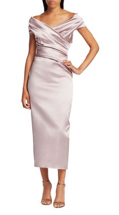 Talbot Runhof Off-The-Shoulder Stretch Satin Duchess Cocktail Dress , Mother Of The Bride Fashion, Mother Of The Bride Dresses Long, Mother Of Bride Outfits, Mothers Dresses, Grooms Mother Dresses, Long Mothers Dress, Mother Bride, Blush Formal Dresses, Mob Dresses