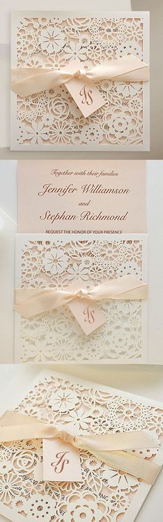 Blush Pink Laser Cut Wedding Invitations with ribbon and tag