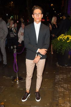 Dapper chap: Joey Essex paired skinny trousers with a wide blazer for the event. Essex Boys, Joey Essex, Trouser Jeans, Trousers, Little Red Dress, Red Midi Dress, Geek Chic, Dapper, Menswear