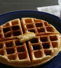 Sweet Milk Homemade Waffles Recipe - so delicious and easy to make. Nothing tastes better than from Scratch! happymoneysaver.com