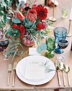 romantic table settings -- Fruit-filled Vineyard Wedding Inspiration -- featured on Ruffled Jewel Tone Wedding, Red Wedding, Wedding Flowers, Wedding Ideas, Wedding Inspiration, Wedding Colors, Wedding Cake, Wedding Fun, Italy Wedding