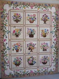 "Mary Ross' Blossoms of Friendship  Hand applique and hand quilted from her book ""Delightful Quilts in Bloom"""