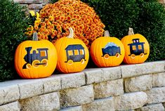four-pumpkins-train-carving-paintings-dfb73f6c Pumpkin Face Carving, Pumpkin Carving Stencils Free, Pumpkin Art, Pumpkin Carvings, Pumpkin Ideas, Scary Halloween Decorations, Pumpkin Decorations, Halloween Prop, Halloween Witches