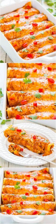 Sweet Potato, Corn & Black Bean Enchiladas (vegetarian) - Healthier comfort food that everyone will love! Fast, easy & tastes amazing!