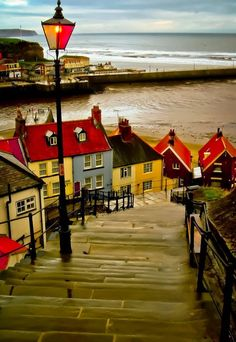 'The 199 Steps' in Whitby, England >> oh this is beautiful! Is love to take a stroll here.